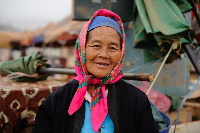 Lao Woman in Pink Scarf