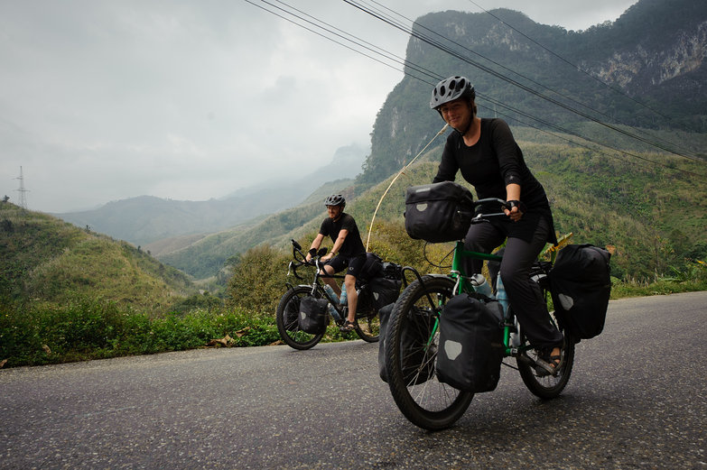 Us Riding in Lao (by French Cyclist)