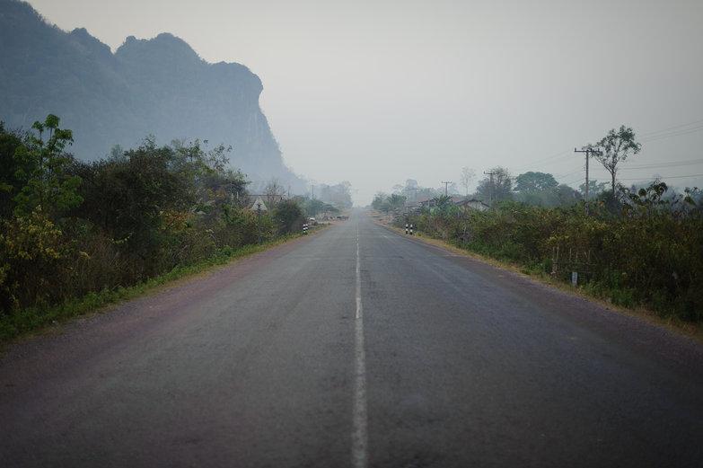 Lao Road w/ Limestone Karsts