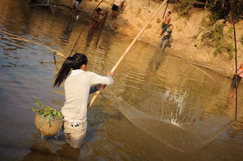 Lao Woman Fishing