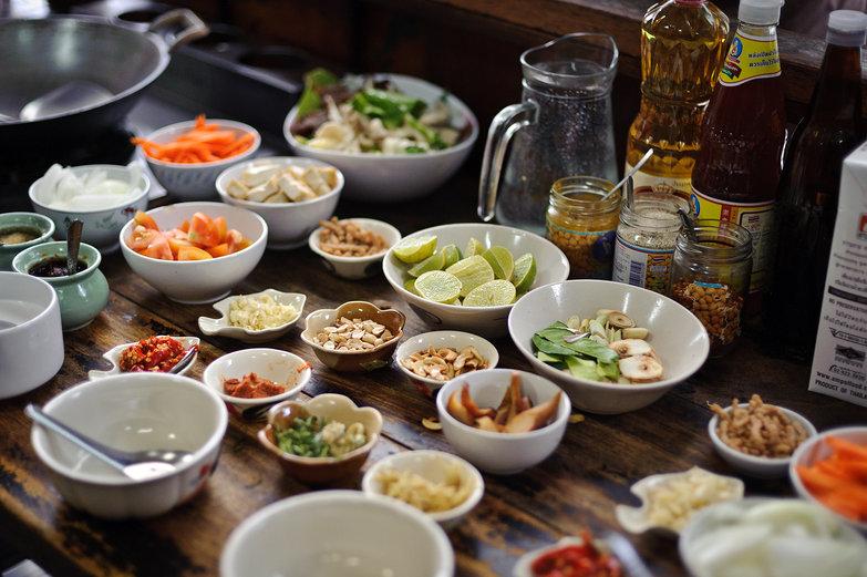 May Kaidee Cooking School Prepared Ingredients