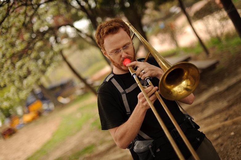 Tyler Playing Trombone