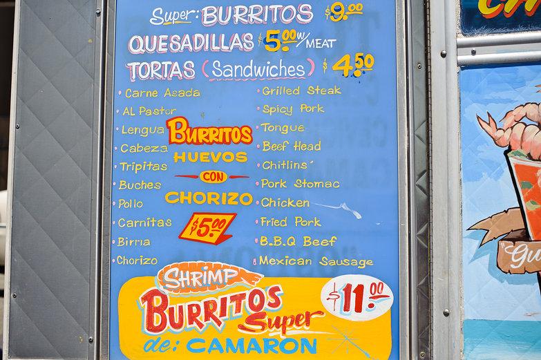 Marisco's Taco Truck Menu