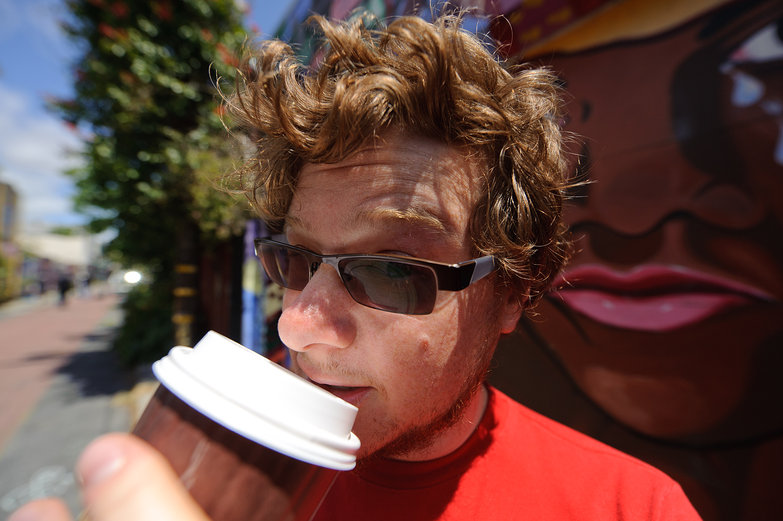 Max Drinking Philz' Coffee