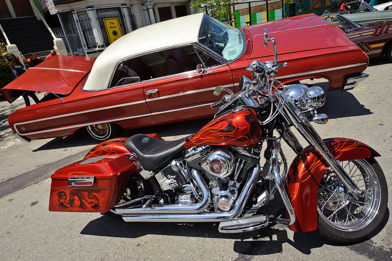 Red Low Rider Car & Red Motorcycle