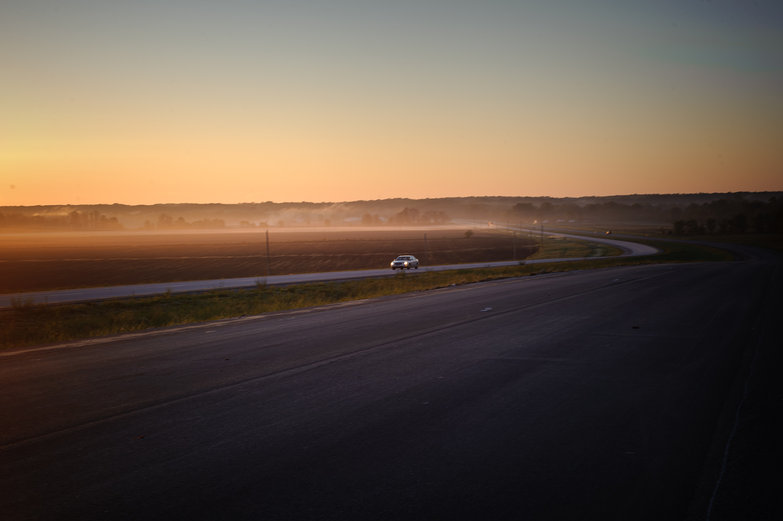 Morning Missouri Road w/ Mist