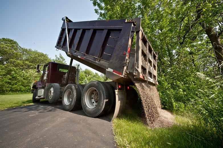 Huge Truck Dumping Pea Gravel