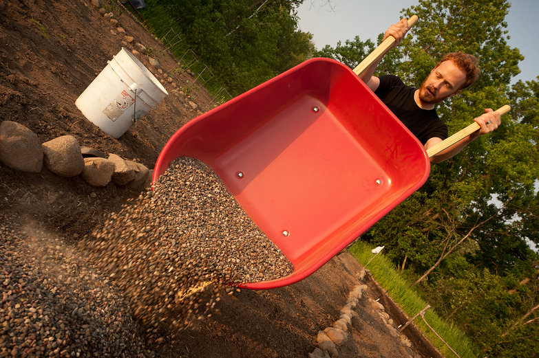 Tyler Dumping Gravel w/ New Wheel Barrow