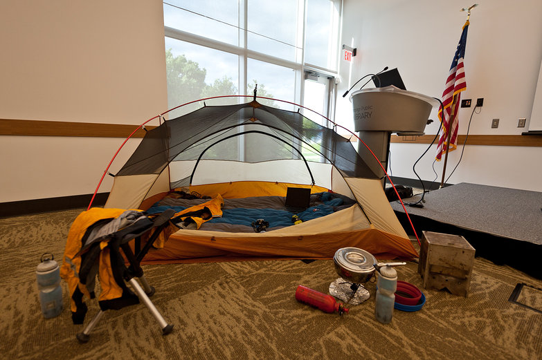 Camping Display at Library