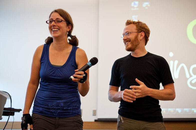 Us Presenting at Champaign Library (by Karina)