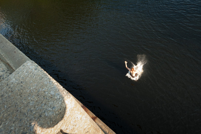 Tyler Jumping off a Bridge into the Saco River