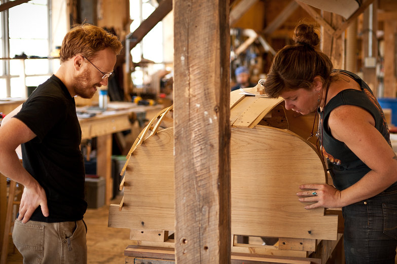 Tyler and Kit in The Apprenticeshop School of Traditional Boat Building and Seamanship