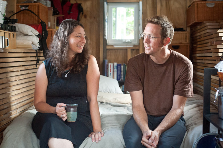 Sheila & Kai (www.2cycle2gether.com) in their Tiny House