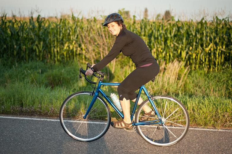 Tara Riding Her New Road Bike
