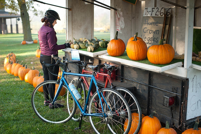 Tara and Bikes at Farm Stand