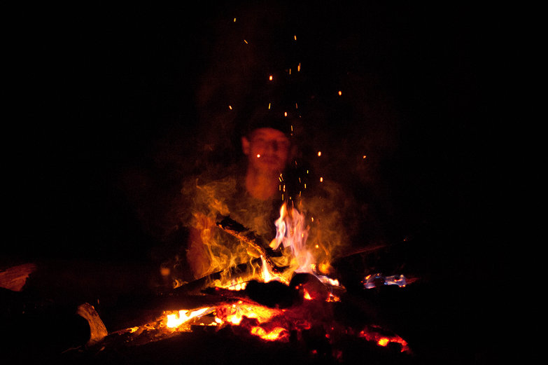 Pete Behind the Fire
