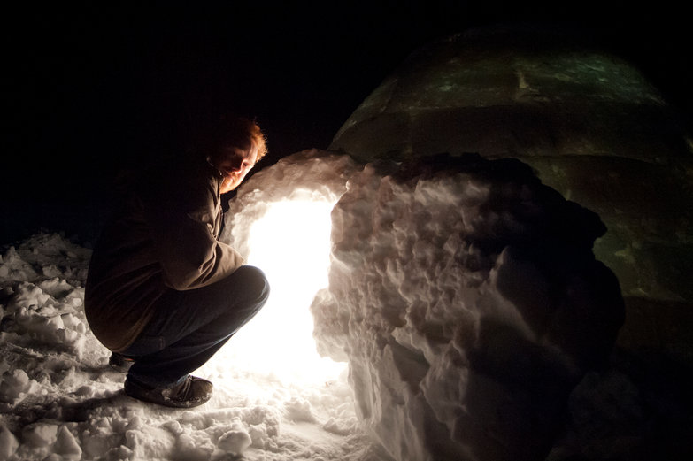 Tyler at the Igloo's Entrance