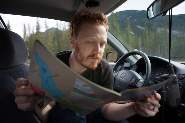 Tyler Reading the National Park Map