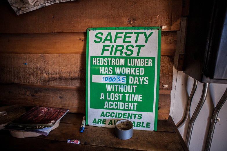 Hedstrom Lumber Mill Safety Record Sign