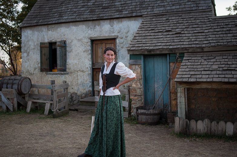 Megan in front of an Irish Cottage at the Minnesota Renaissance Festival
