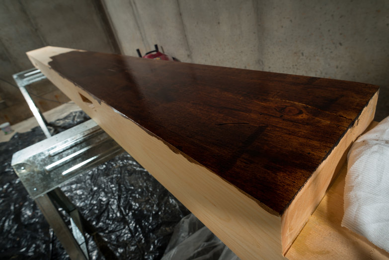 Black Walnut Danish Oil on Tie Beam