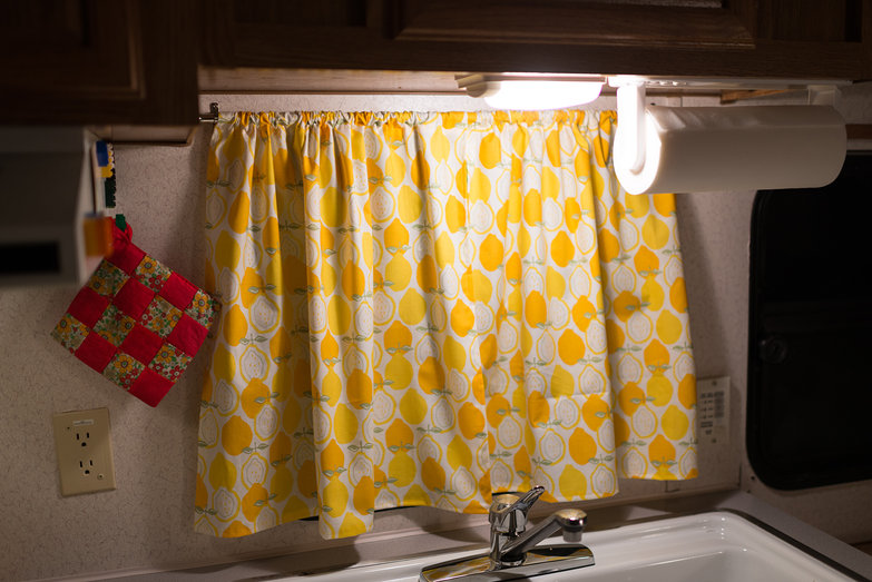 Camper Remodel: Lemon Curtains