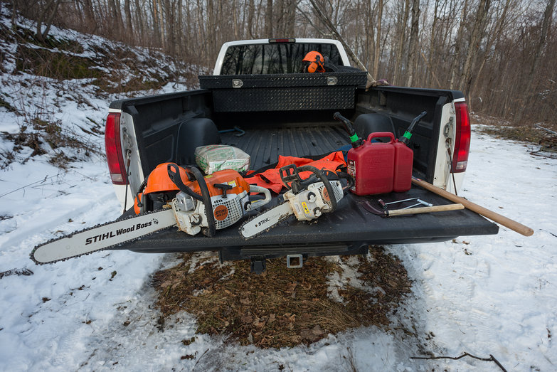 Chainsaws on Truck Bed