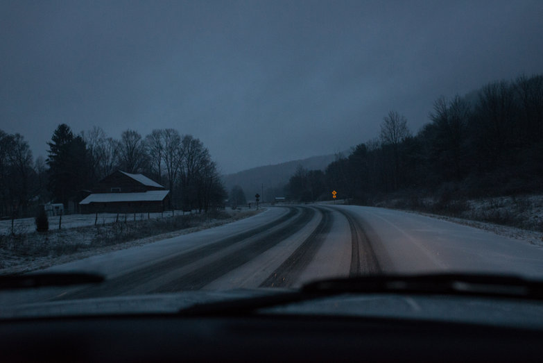 Driving in Snowy Vermont at Dusk