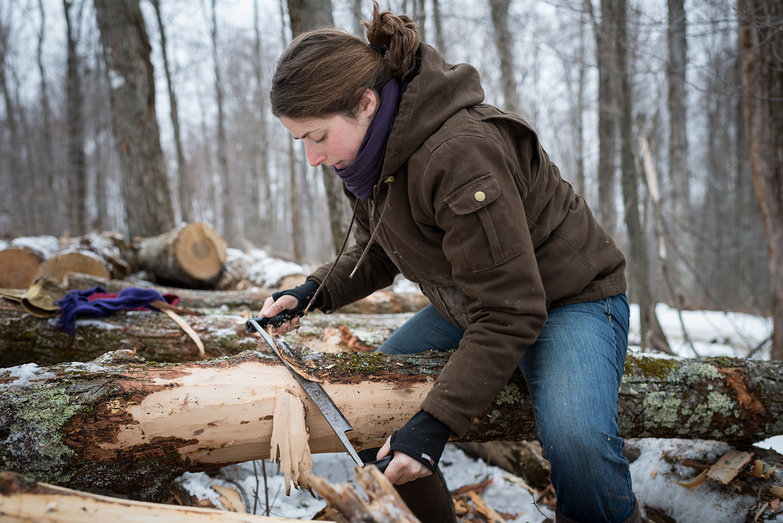 Tara Stripping Bark For Timber Frame Knee Braces w/ Draw Knife