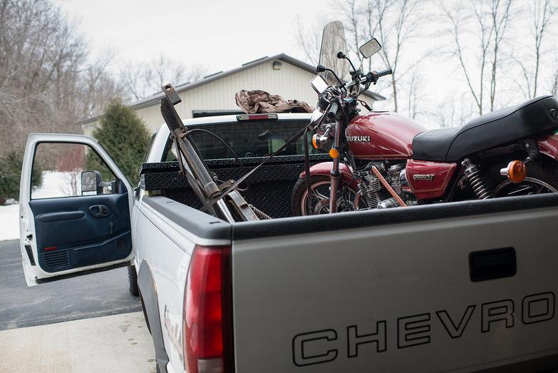 Truck w/ Plow & Motorcycle In Bed