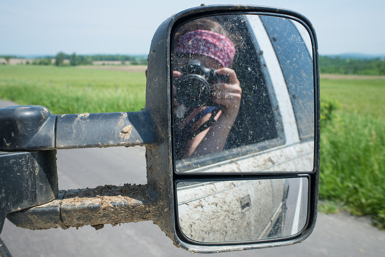 Tara through Muddy Sideview Mirror