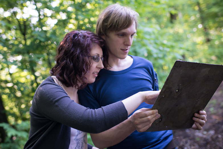 Katherine & Michael Loooking at Slate