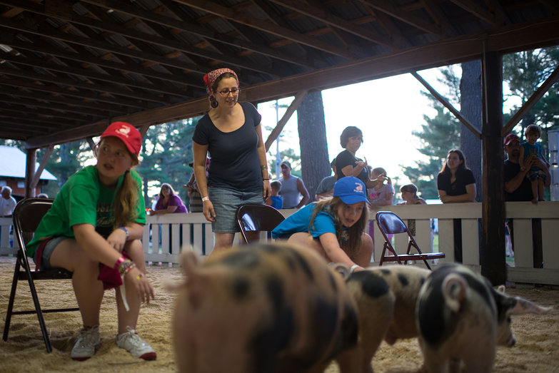 Tara Judging Ossipee Valley Fair Pig Calling Competition