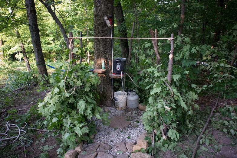 Outdoor Shower in Progress