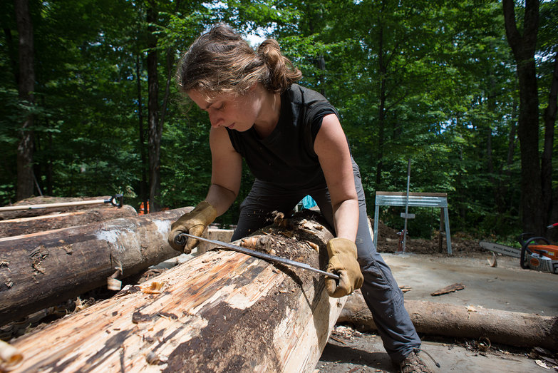 Tara Draw Knife Shaping a Log