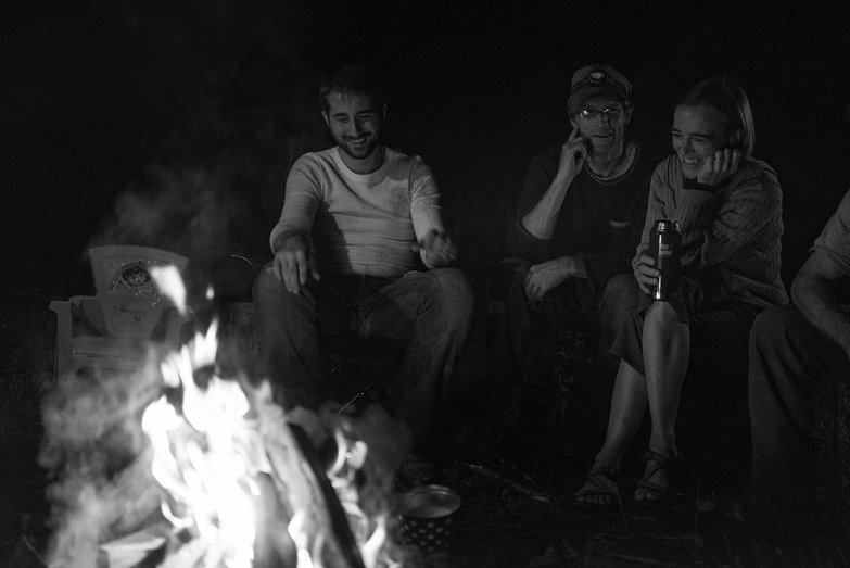 Adnan, Peter & Amy by the Fire