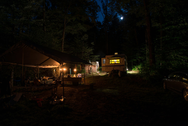 Workshop Camp Kitchen & Trailer by Moonlight