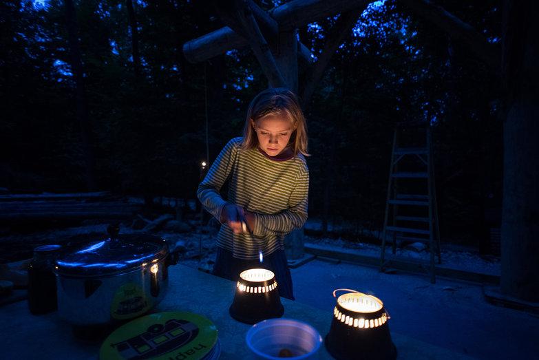 Robin Lighting Candles