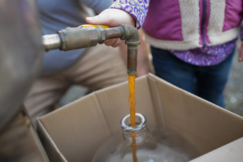Fresh Cider Pouring into Glass Carboy