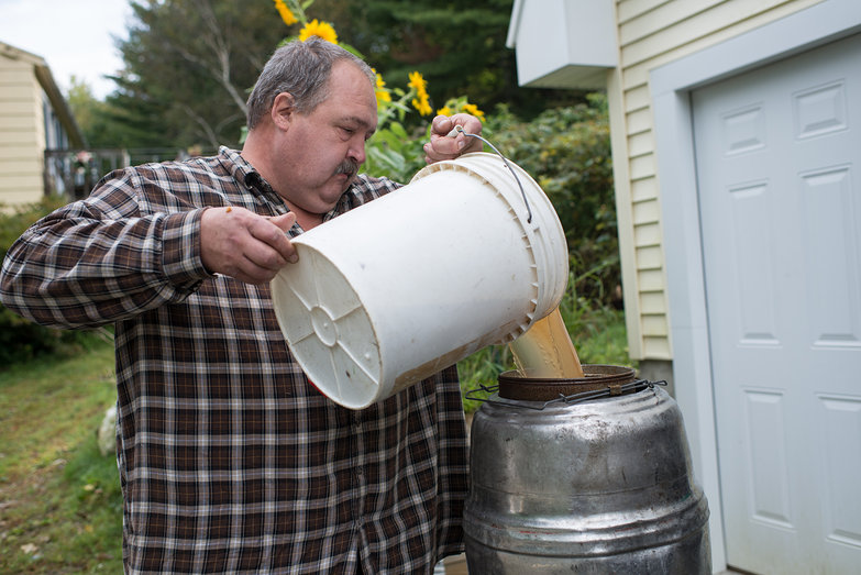 Dave Pouring Cider into Keg