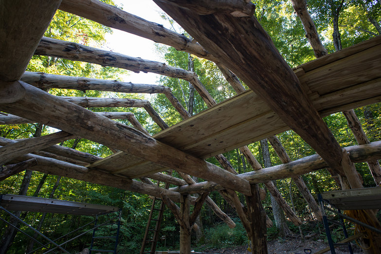 Grindbygg Timberframe Rafters on Roof