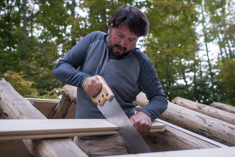 Jeremy Cutting Grindbygg Timber Frame Roof Decking