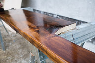 Wooden Window Seat Staining