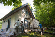 Vermont Natural Homes Plastering Strawbale Cottage