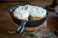 Browned Butter Rosemary Cake with Apricot Jam & Goat Cheese Whipped Cream